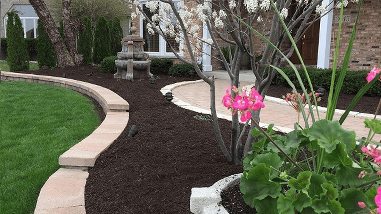 This is an image of a beautiful mulched home