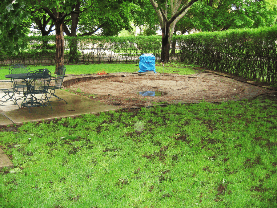 A Picture Where A Pool Was Removed And Grass Is Needed